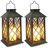 Solar Lantern,Outdoor Garden Hanging Lantern,Set of 2,Waterproof LED Flickering Flameless Candle Mission Lights for…