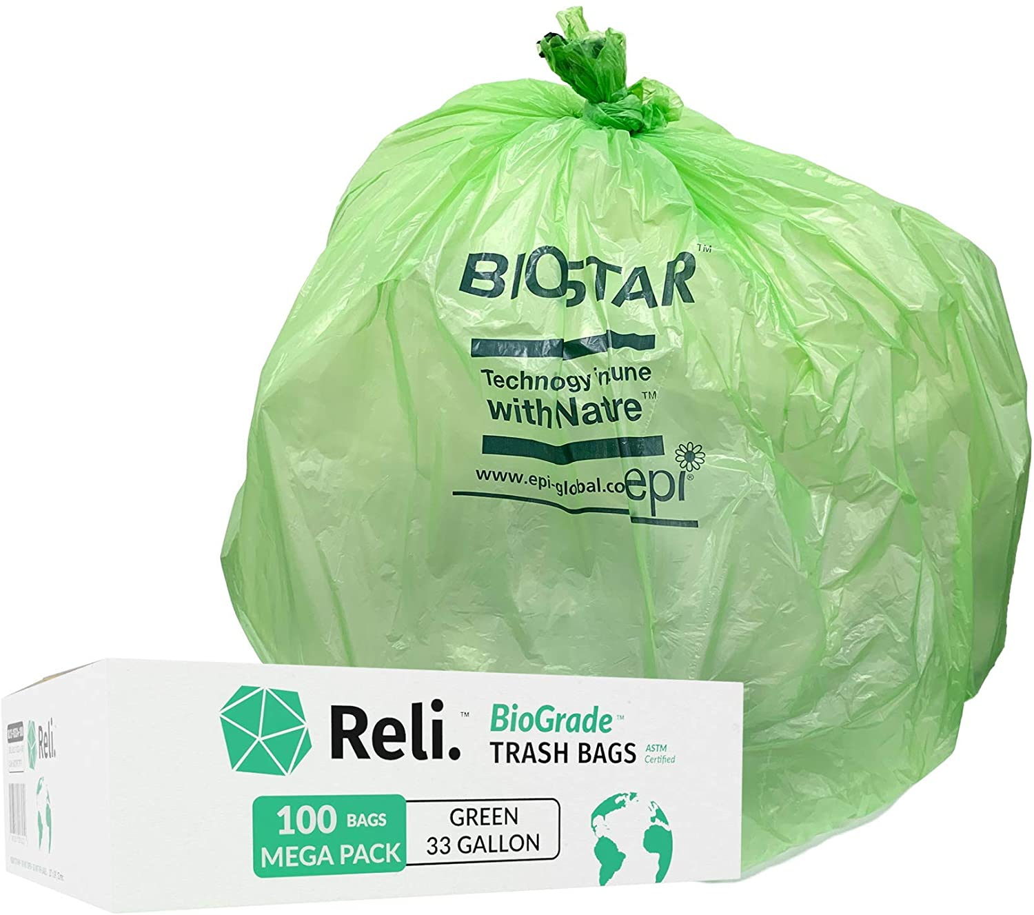 Reli Biodegradable 33 Gallon Trash Bags 100 Count Bulk Green Eco Friendly Garbage Bags 30 Gallon 33 Gallon 35 Gal Capacity Oxo Biodegradable Under Certain Conditions See Product Description Home Improvement Amazon Com