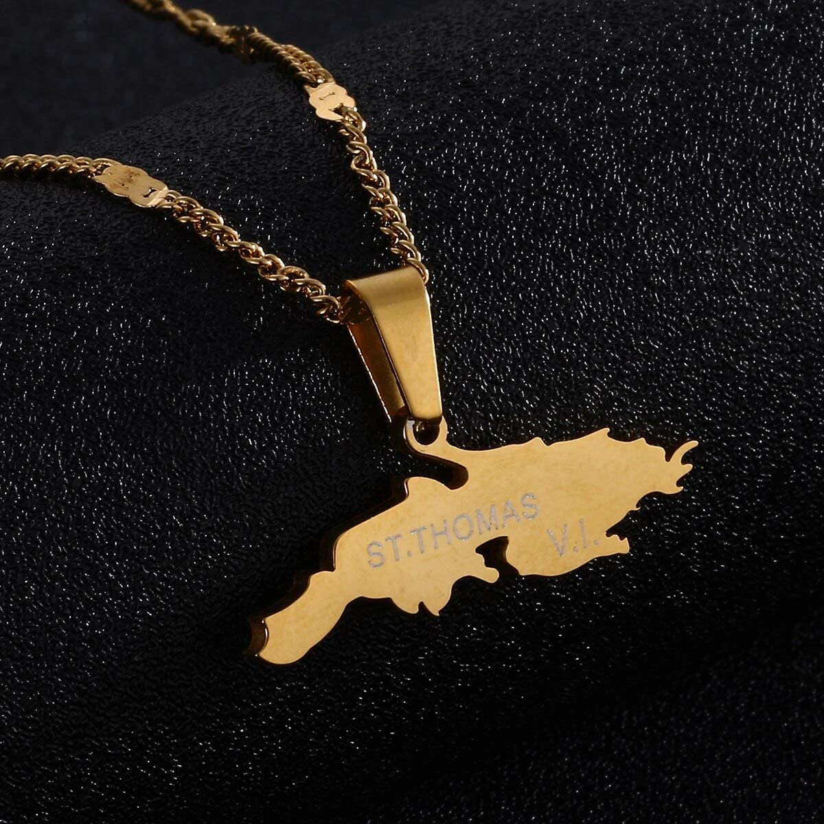 Charm Pendant Necklaces Gold Color Map Chain Jewelry Thomas V.I Stainless Steel St