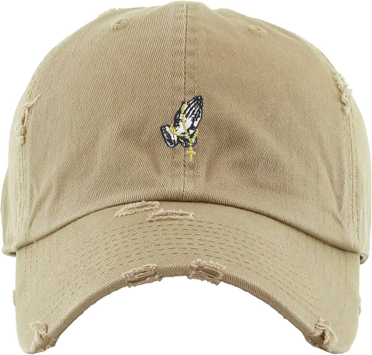 KBETHOS Praying Hands Rosary Savage Dad Hat Baseball Cap Unconstructed Polo Style Adjustable