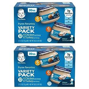 Gerber Purees 2nd Foods Variety Pack, Chicken Gravy & Turkey Gravy, 2.5 Ounce Jars (Pack of 24)