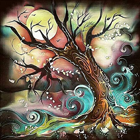 5D DIY Diamond Paint with Diamonds Full Round Grill Colorful Tree Embroidery Pictures Arts Craft Cross-Stitching Se Crystal Rhinestone by Number Kit for Wall Decoration Painting