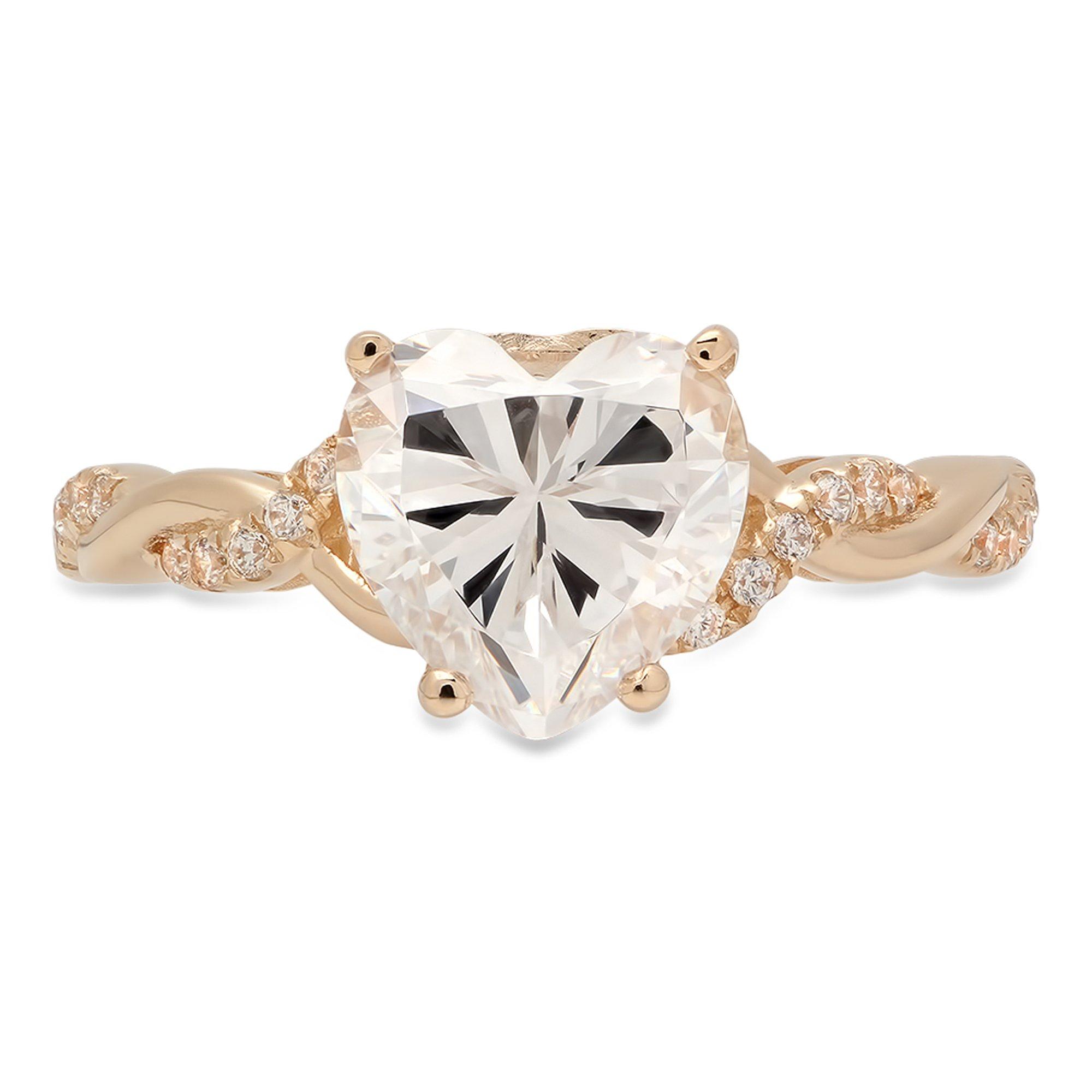 Clara Pucci 2.29 CT Heart Brilliant Cut CZ Designer Criss Cross Twisted Ring Band 14k Yellow Gold