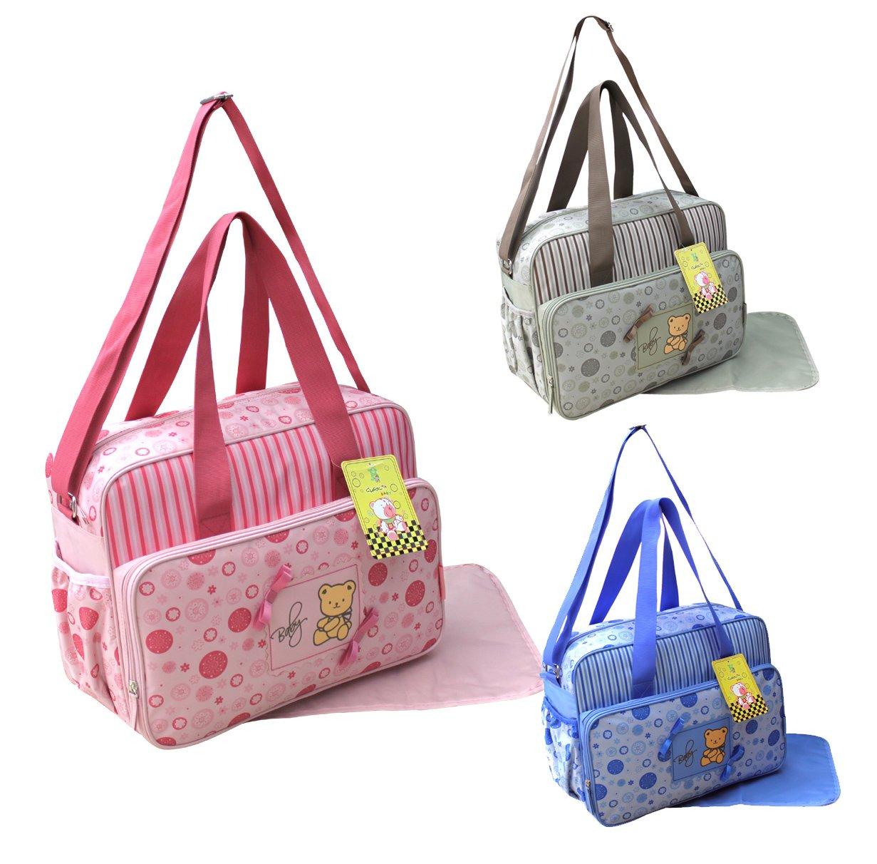 GMMH 2 tlg Wickeltasche Pflegetasche Windeltasche Babytasche Farbauswahl rosa 2120