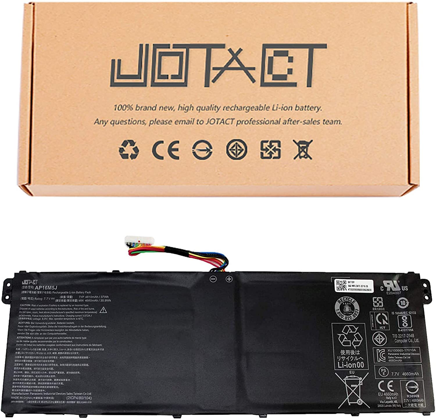 JOTACT AP16M5J(7.7V 37Wh/4810mAh 2-Cell) Laptop Battery Compatible with Acer Aspire 1 A114-31 3 A314-31 21 51 5 A515-51 ES1-523 Series Notebook KT.00205.004 KT00205004 2ICP4/80/104