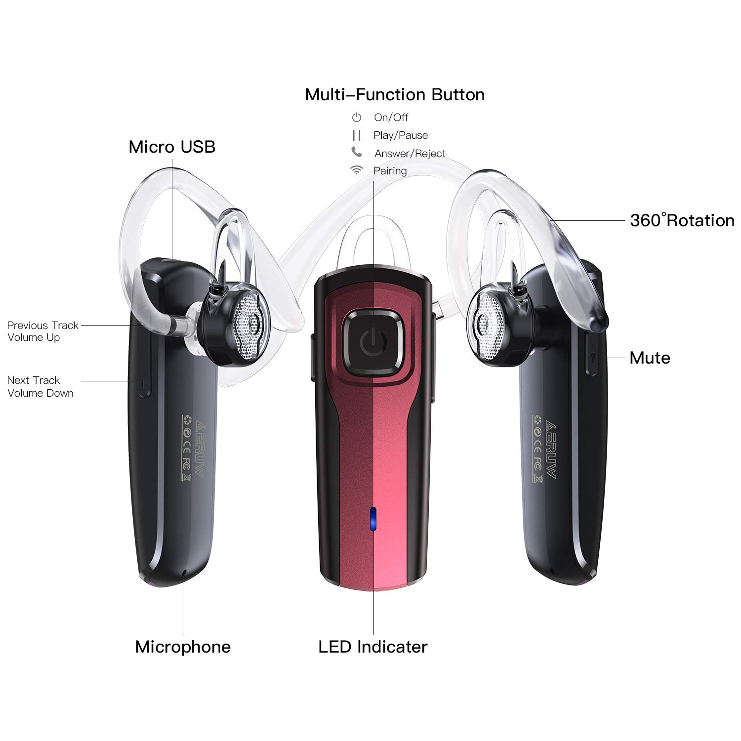 L-Fragrant Bluetooth Headset, Wireless Bluetooth Headset Ultralight Handsfree Bluetooth Earpiece for iphone Tablet Android Smartphones Business Office Driving (Red)