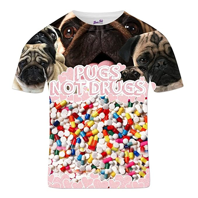 Men s Dog T Shirt Pugs Not Drugs All Over Print Pug Face Pills Slogan