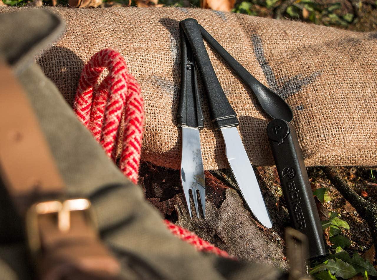 Böker Plus Snac Pac Black Campingbesteck Besteck Messer Gabel Löffel