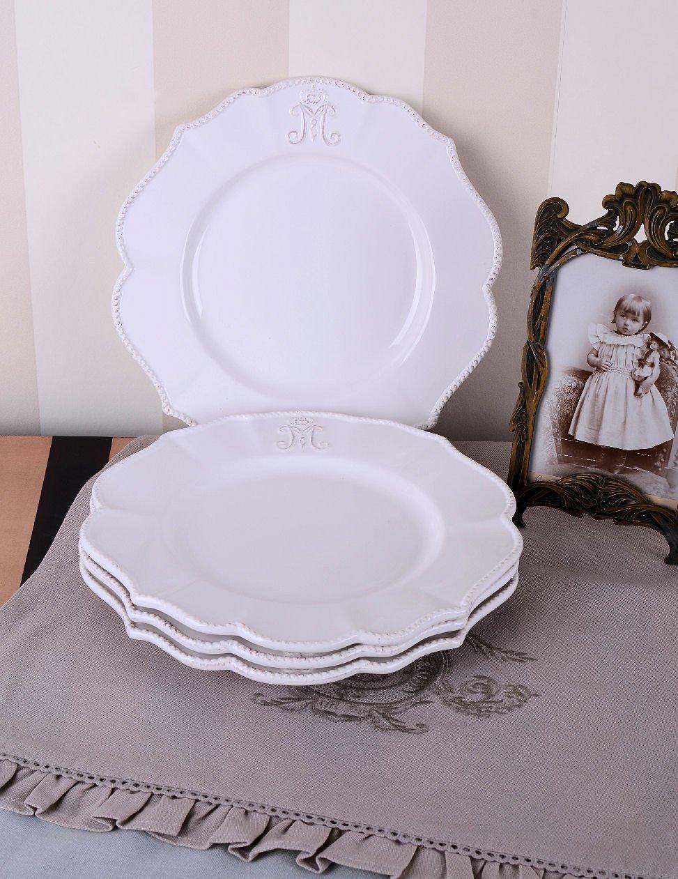 Tafelservice Landhausstil tellerset teller tischset porzellanteller speiseteller in weiß und