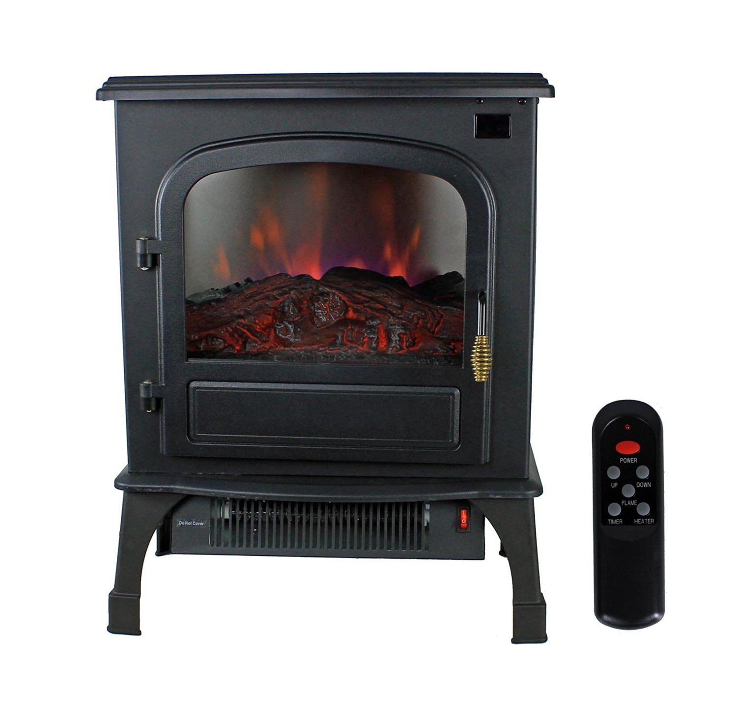 Indoor Electric Stove Heater With Infrared Technology-Beautiful Black Finish With LED Simulated Flames Three Sided Glass- Energy Efficient Hearing To 1000 Sq Feet Rooms- 3 Operating Modes With Remote by Wrapped Element Infrared