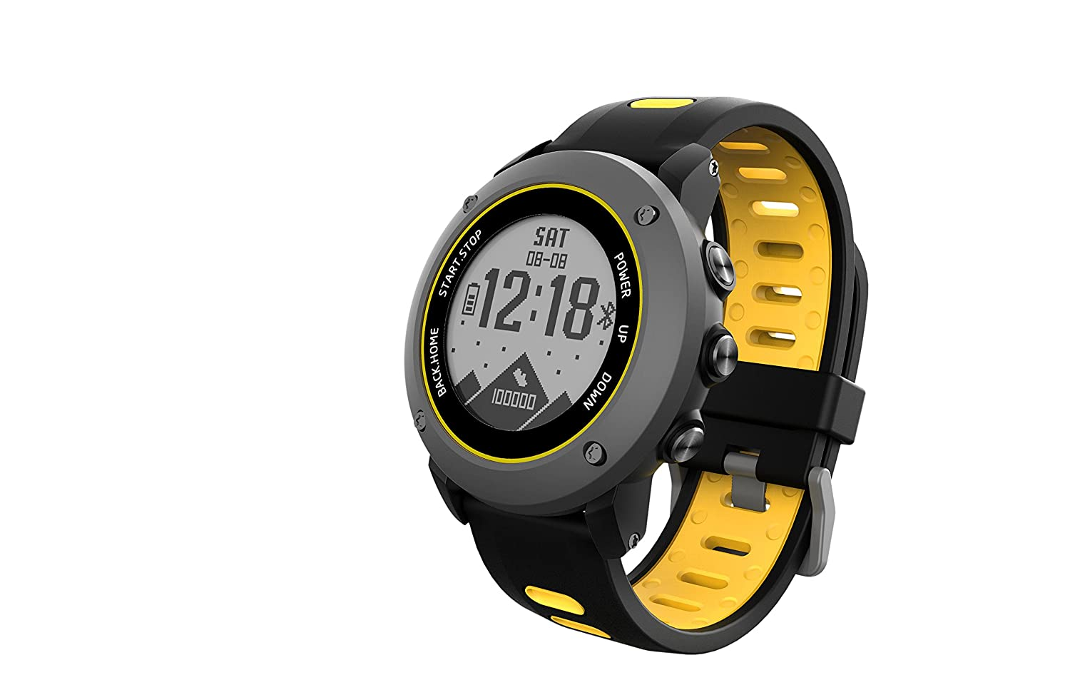 SoonCat GPS Watch for Men, Running Smart Watch All Black Military Mens Outdoor Sports Watch (Yellow)