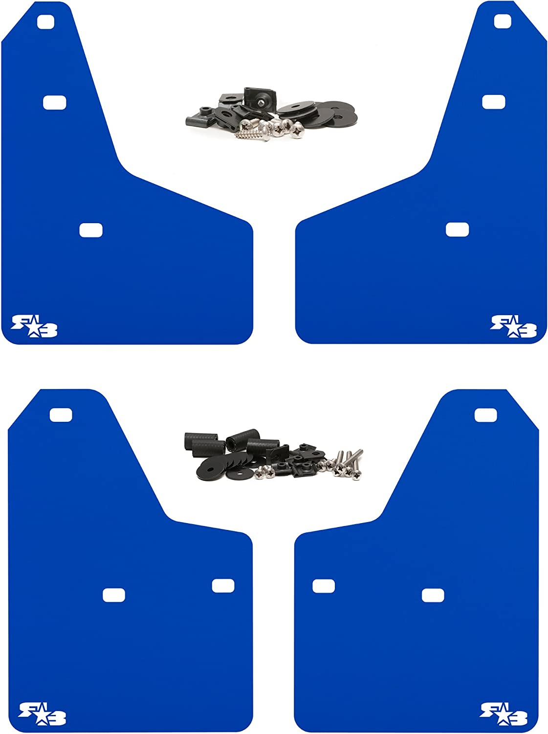Black with White Logo, Originalz Set of 4 Includes All Hardware and Detailed Instructions RokBlokz Mud Flaps for 2012+ Ford Focus Fits All MK3 Models Multiple Colors Available