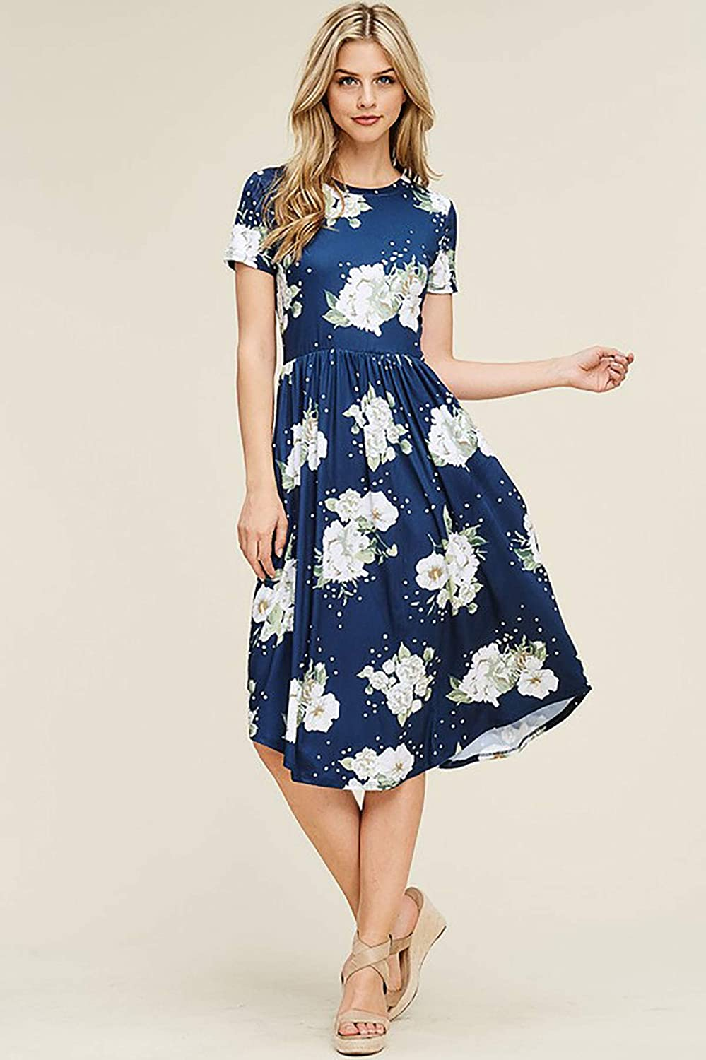 SHOPGLAMLA Floral Print Round Neck Hem Flared Short Sleeves Pocket Mid Dress Made in USA