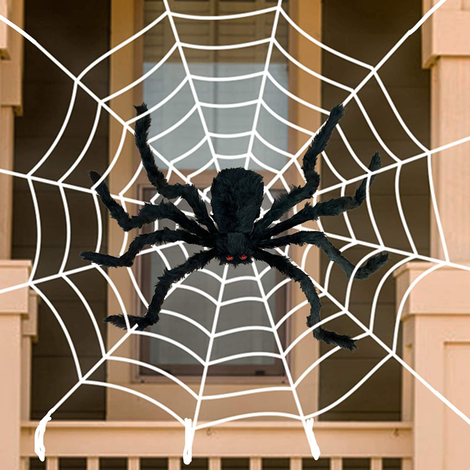 "Anditoy 50"" Giant Halloween Spider with 12ft Round Large Web Fake Scary Hairy Spiders Props for Halloween Decorations Outdoor Halloween Decor Yard Party Decoration"