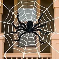 "Anditoy 50"" Giant Halloween Spider with 12ft Round Large Web Fake Scary Hairy Spiders Props for Halloween Decorations…"