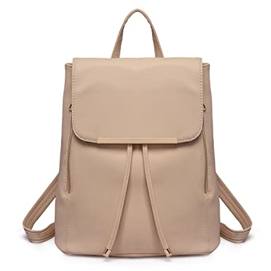 3bb0ad613c9e Miss Lulu Ladies Fashion PU Leather Backpack Rucksack Shoulder Bag (1669  Beige)  Amazon.co.uk  Clothing