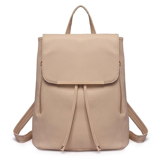 Miss Lulu Ladies Fashion PU Leather Backpack Rucksack Shoulder Bag (1669  Beige)  Amazon.co.uk  Clothing f375a5427e378