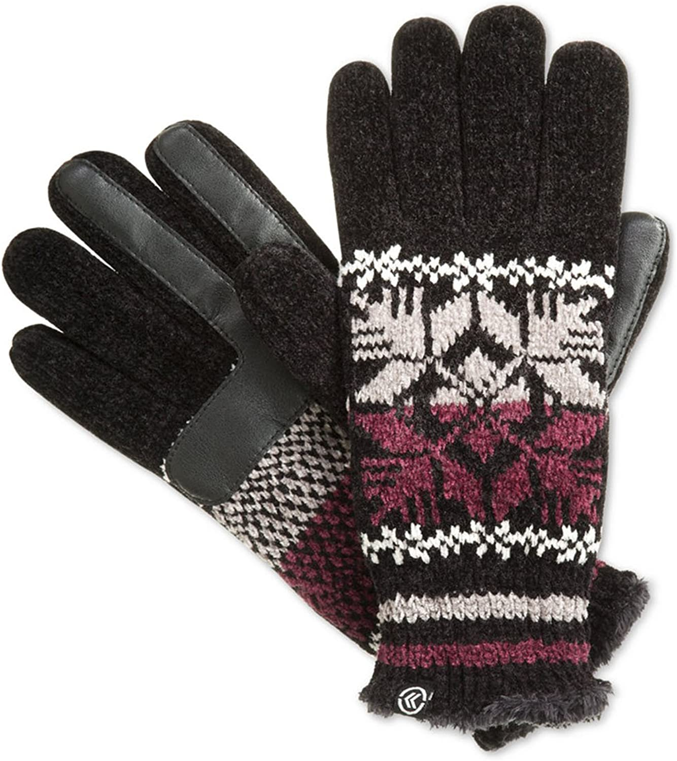 Isotoner Signature women/'s smartouch gray chenille knit gloves one size