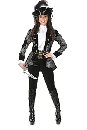 cddb6c44683 Charades Women's Elegant Pirate Jacket and Pants Costume Set, Black/Silver,  Small
