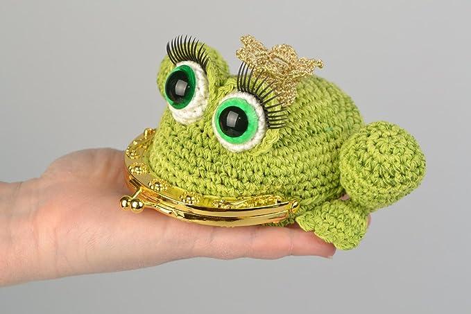 Monedero de punto de ganchillo en forma de rana hecho a mano ...