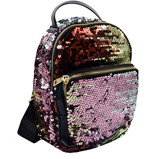 Amazon.com | Danse Jupe Sequins Faux Leather Backpack Fashion Daypack Casual School Bag Travel Satchel(Pink) | Kids Backpacks