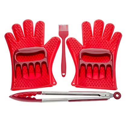 Noubi tech Silicone BBQ Gloves, Meat Claws, BBQ Brush and Barbecue Tongs 6 pcs