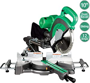 "Metabo HPT C10FSBS 10"" Sliding Compound Miter Saw, Double-Bevel, Electronic Speed Control, 12 Amp Motor, Electric Brake Feature, 5-Year Warranty"