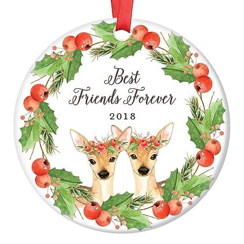 best friends deer christmas ornament 2018 friendship forever xmas present for bff bestie soul sisters - Christmas Present For Best Friend