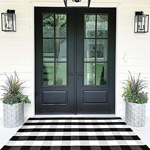 Buffalo Plaid Rugs Cotton Black and White Check Rug 35.4 x 59 Hand-Woven Indoor Outdoor Area Rug