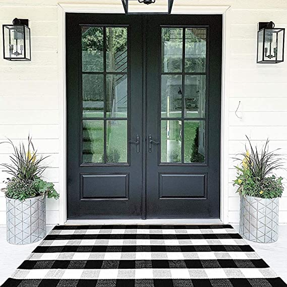Buffalo Plaid Rugs Cotton Black and White Check Rug 35.4'' x 59''Hand-Woven Indoor/Outdoor Area Rug for Welcome Door Mat, Front Porch,Kitchen,Bathroom,Entry Way,Living Room (3' x 5')