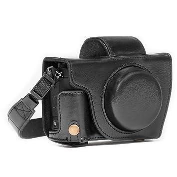 MegaGear Canon PowerShot G5 X Ever Ready Piel Case de Cámara con Correa y batería Color Marrón Claro de Acceso mg1068