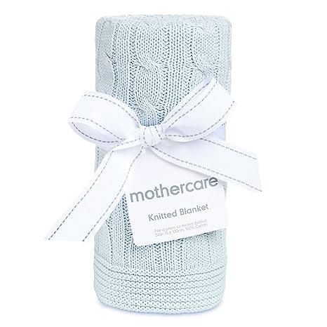Mothercare azul 100% algodón de punto bebé manta para cochecito o Moisés cesta 75 cm