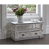 SHABBY CHIC ANTIQUE COTTAGE COUNTRY CREAM TELEVISION TV STAND ...
