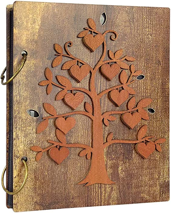 Giftgarden 4x6 Photo Album Family Tree Decor Large Capacity Wood Cover Wedding Family Baby Picture Albums Holds 120 Photos