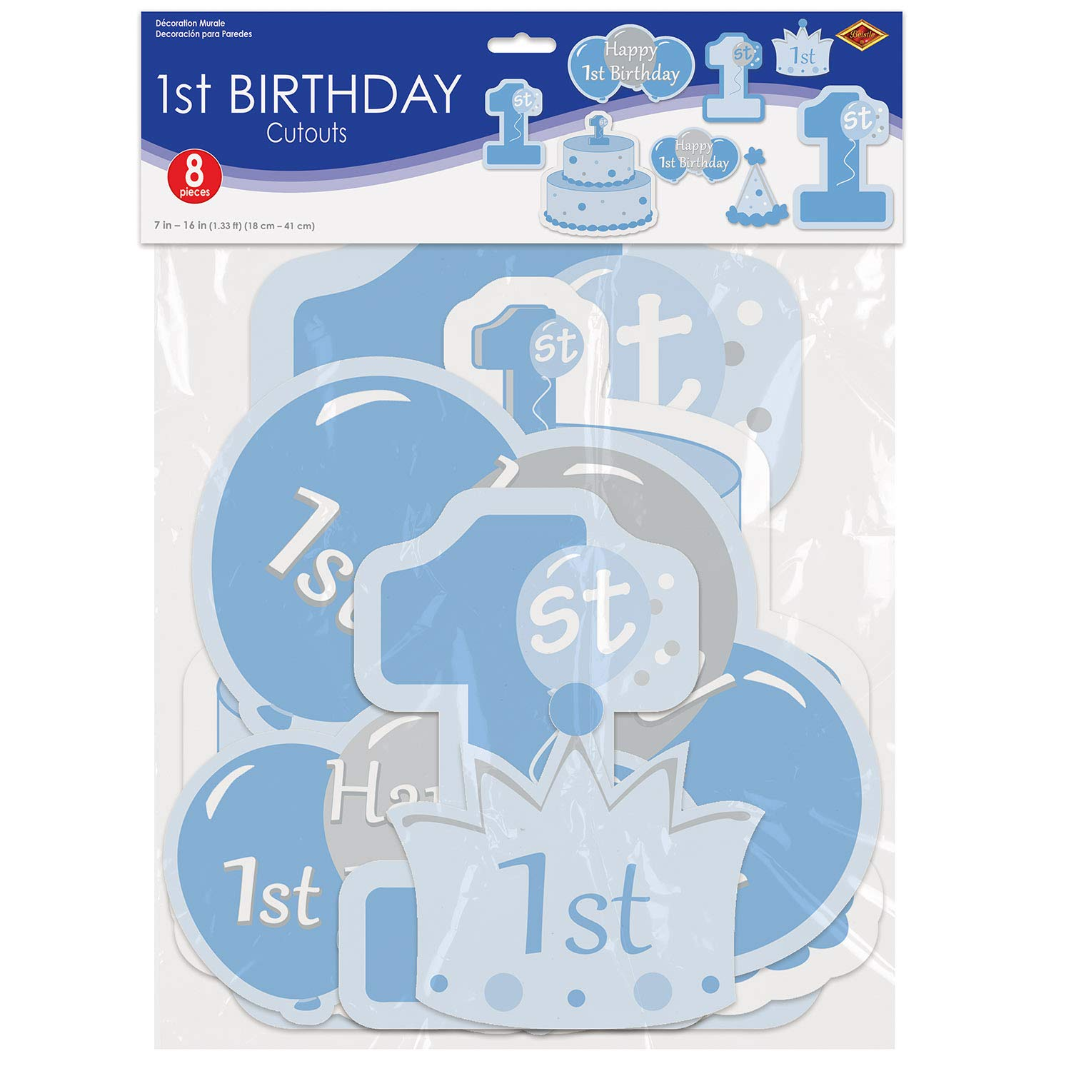 Beistle 1st Birthday Boy Decorations, Blue and Yellow Colored Assorted Cutouts 7 Inch to 16 Inch, Pack 96