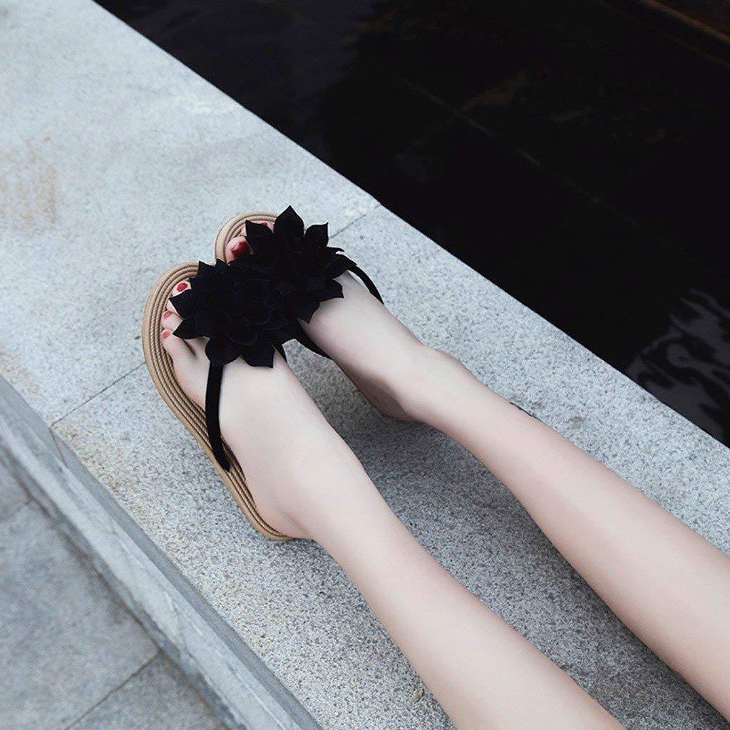 Darringls Chaussures Sandales Plates Femmes de Ville Tongs Nu Pieds /à Talons Plats Confortables Tendance Fleur Fond Plat Plage Bascule Pantoufles 2019 /Ét/é
