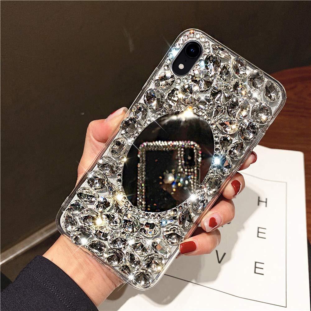 Diamond Case for iPhone XR Cover,3D Handmade Bling Rhinestone Diamonds Luxury Sparkle Mirror Case Girls Women Full Crystals Bling Diamond Soft TPU Bumper Case Cover for iPhone XR Mirror Case,Clear by ikasus