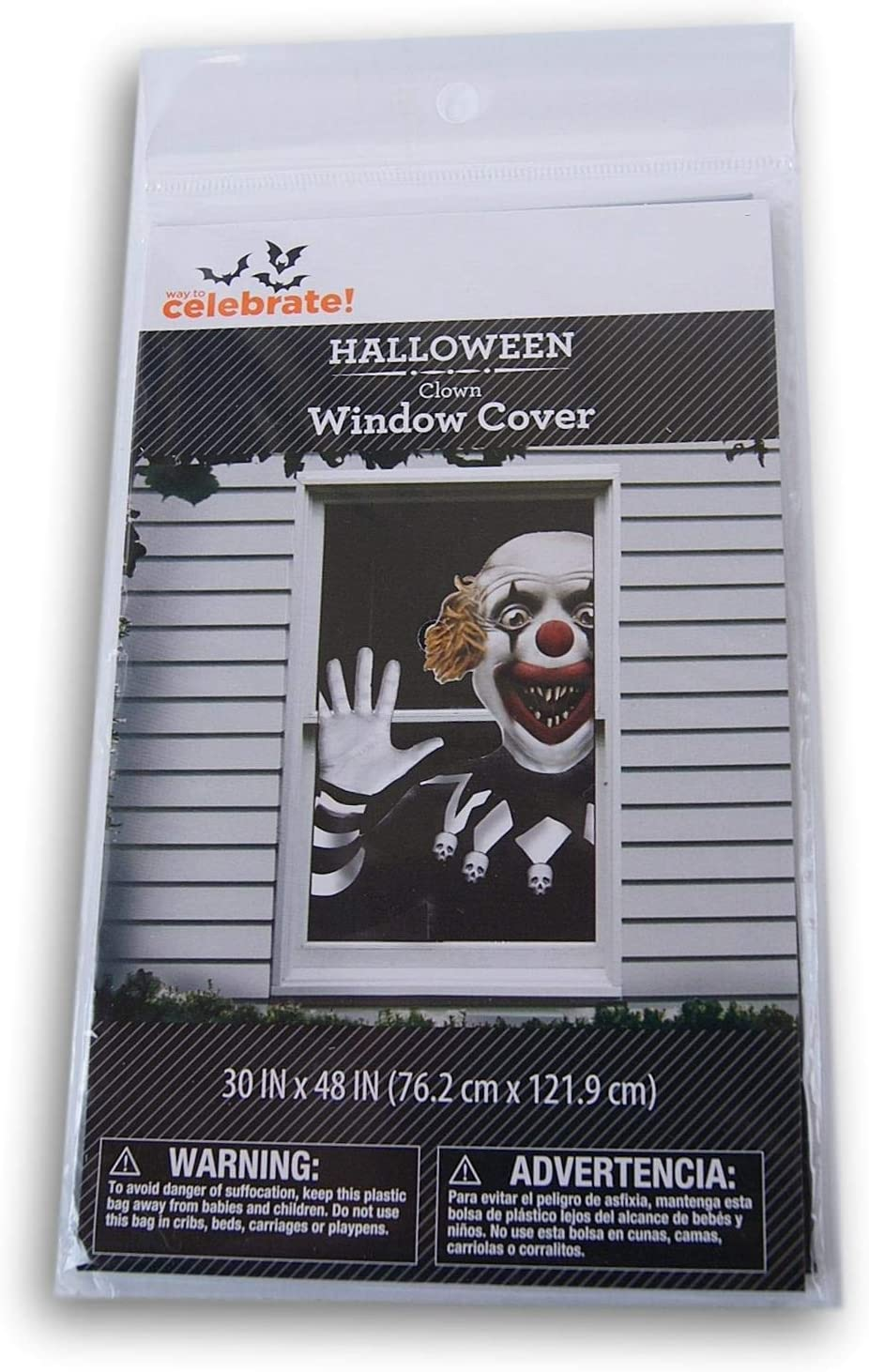 Spooky Town Halloween Clown Window Cover - 30 x 48 Inches