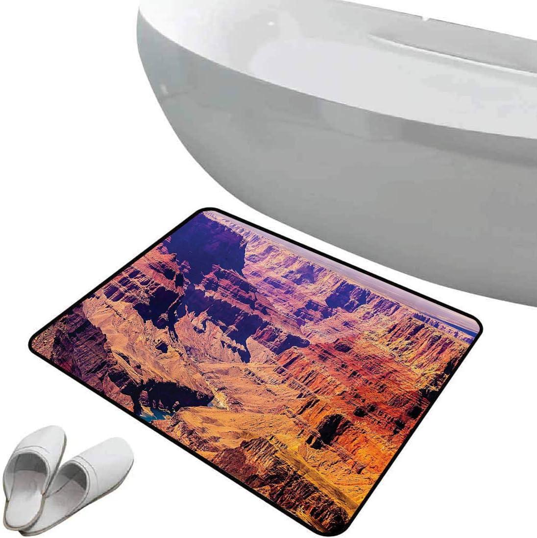 Alfombra de baño antideslizante Gran Cañón en Arizona con elevaciones de base Sublime paisaje tribal de América del Norte Área segura de alfombra de baño antideslizante suave Naranja Verde Gris, Felpu