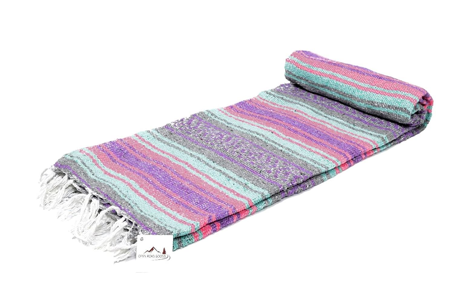 Open Road Goods Mexican Blanket - Pastel Vintage Boho Colors. Great Yoga Blanket, Beach Blanket, Picnic Blanket, or a Throw! Handmade