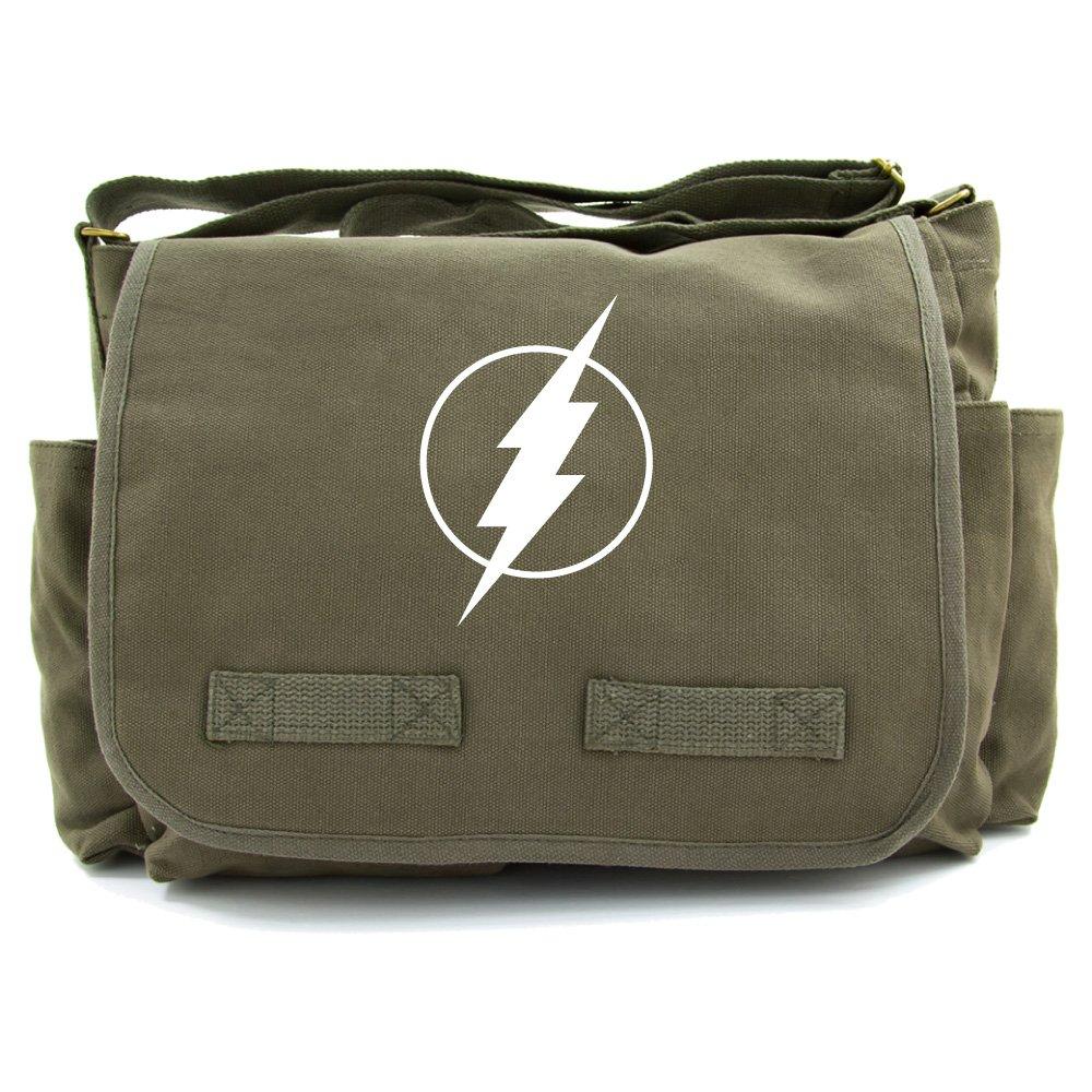 Flash Comic Superhero Heavyweight Canvas Messenger Shoulder Bag in Olive