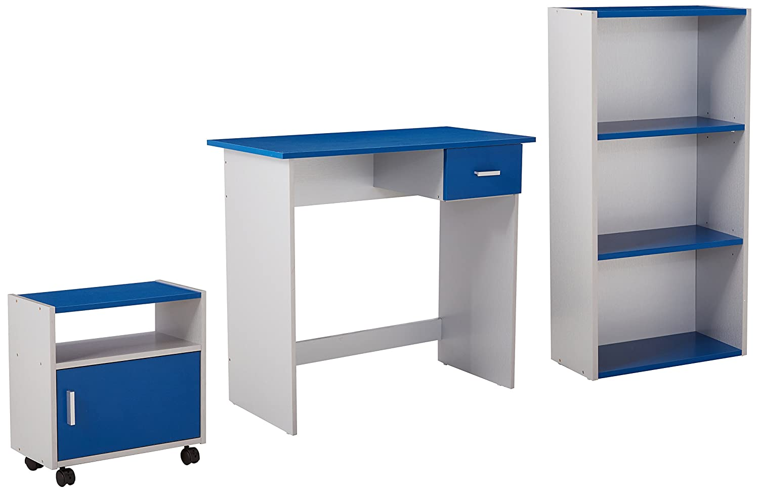 bluee Silver Monarch Specialties I 7103 3 Piece Computer Desk, Maple