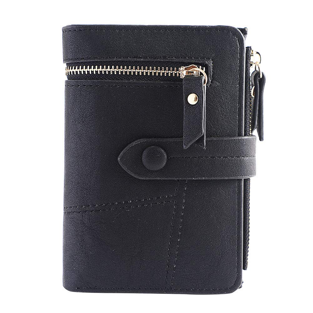 Clearance!Women Simple Retro Zipper Short Wallet Coin Purse Card Holders Handbag Card Holder Coin Purse (Black)