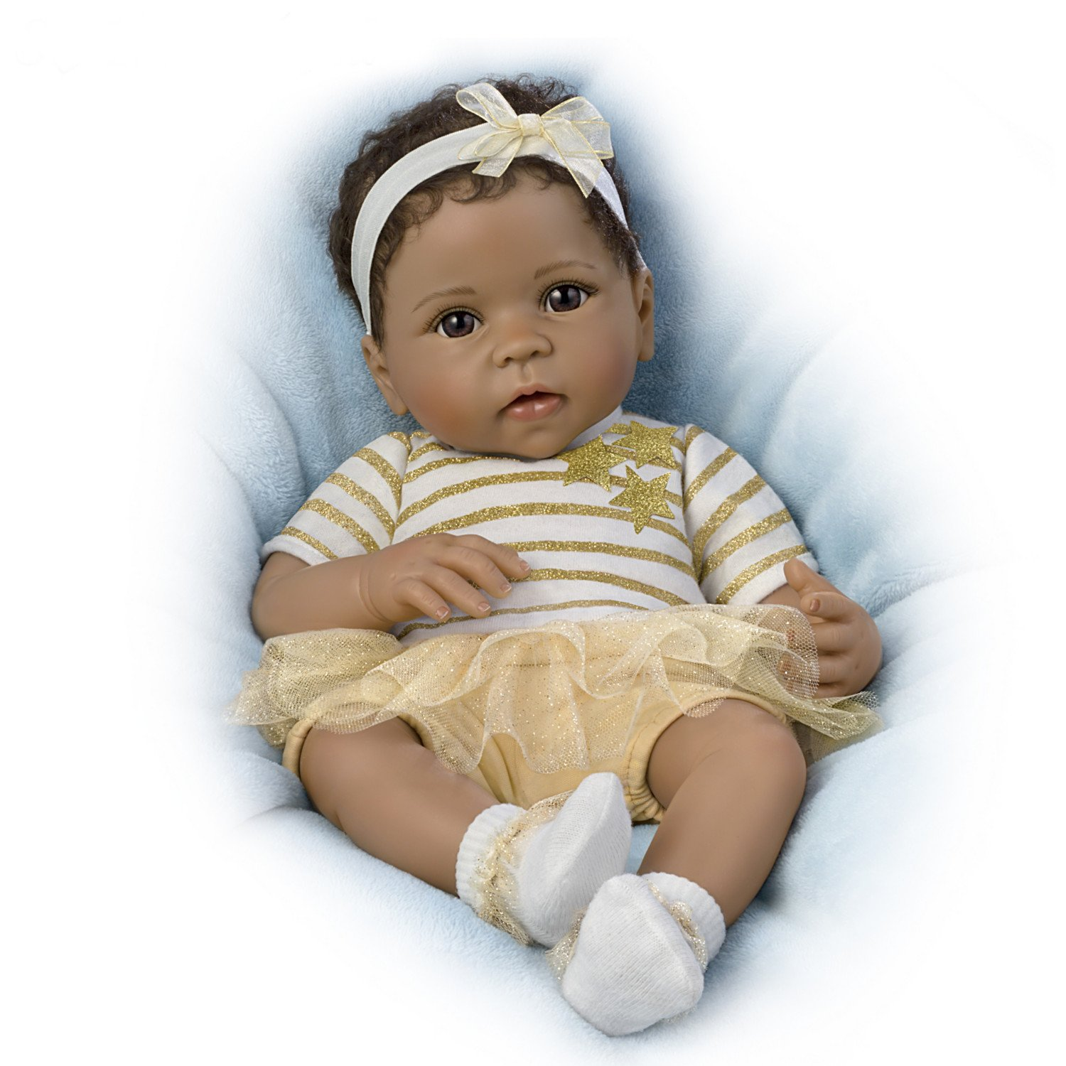The Ashton-Drake Galleries Weighted Lifelike Baby Girl Doll by Artist Linda Murray: Star Themed Outfit