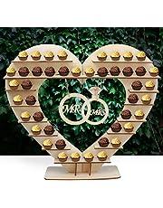 Soporte de madera con forma de corazón para bombones, decoración de mesa para bodas,