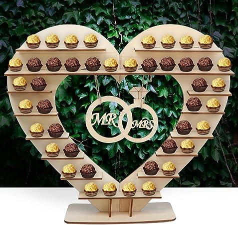 Soporte de madera con forma de corazón para bombones, decoración ...