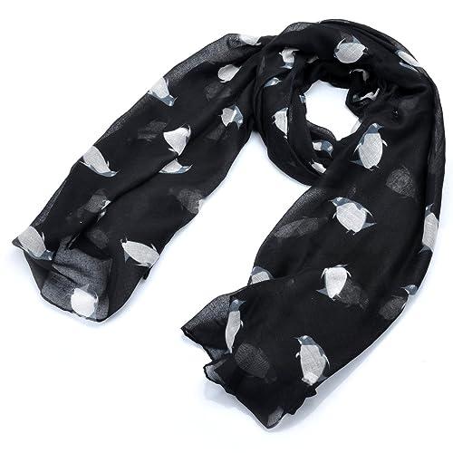 lureme® Sweety pinguini colorati leggera sciarpa lunga stampa (01003421)