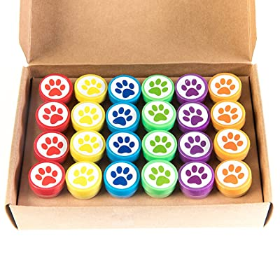 Huji Paw Print Stampers 24 Pieces Birthday Supplies Bag Accessories Toys Classroom Teachers Reward Activities for Children's Party Favors Birthday Parties School (Paw, 24 PCS): Toys & Games