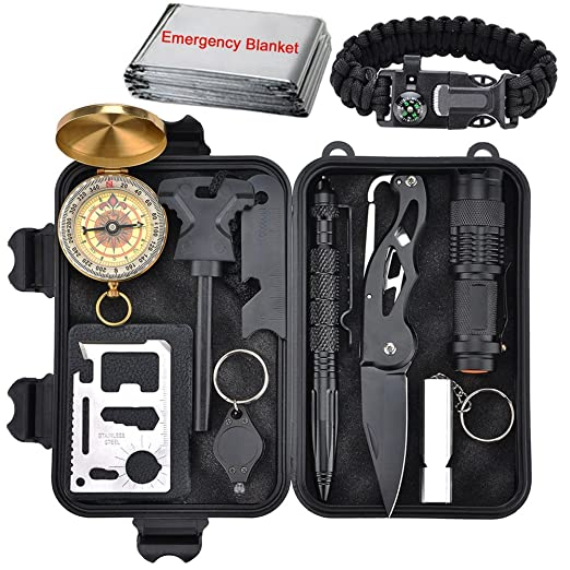 Emergency Survival Kit 13 in 1, Outdoor Survival Gear Tool with Survival Bracelet, Folding Knife, Compass, Emergency Blanket, Fire Starter, Whistle, Tactical Pen for Camping, Hiking, Climbing