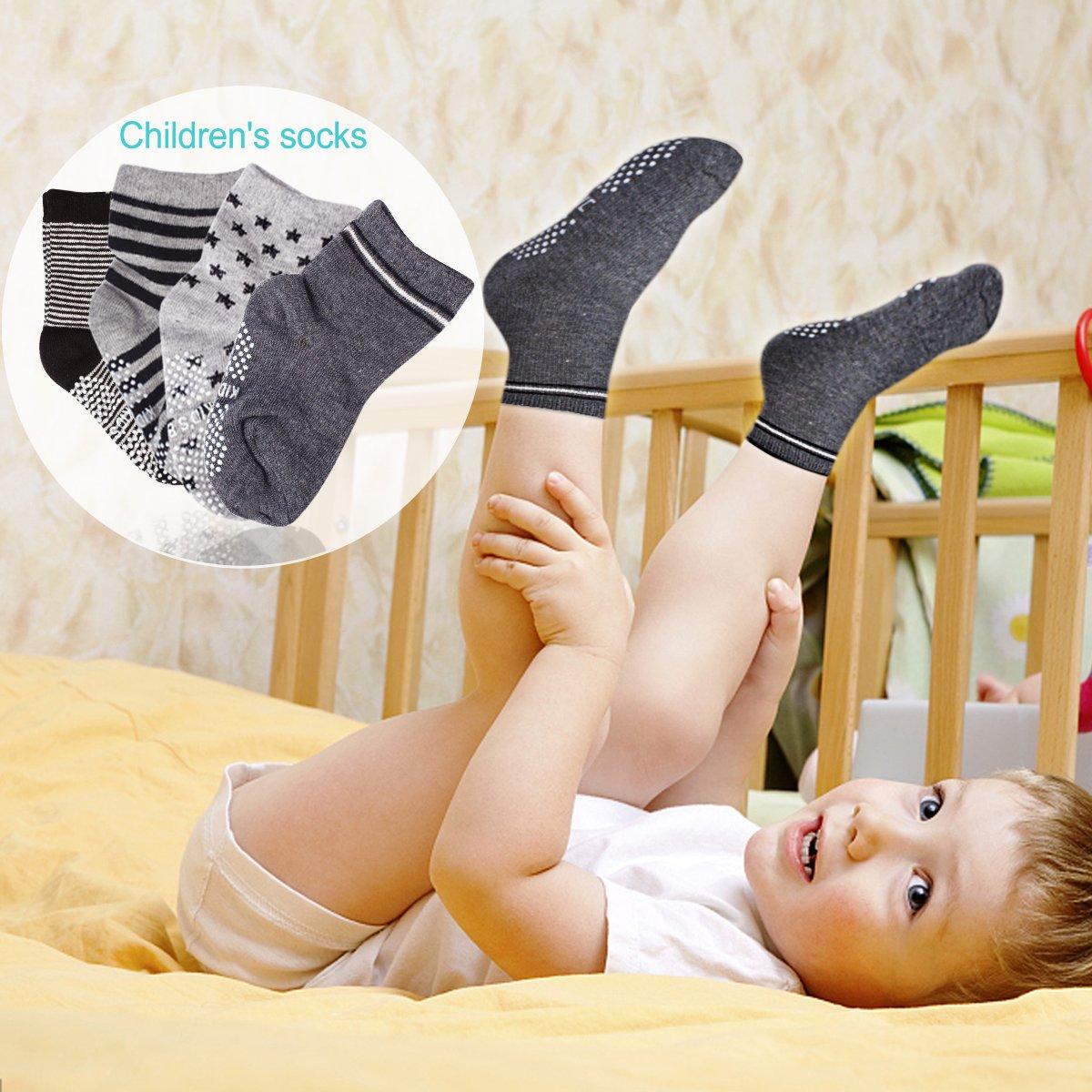 SuPoo 6 Pairs Baby Socks Non Skid Baby Cotton Socks Soft Anti-Slip Socks Baby Toddlers